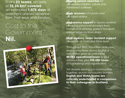 Mountain Rescue Parliamentary Leaflet