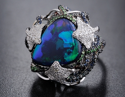 Ocean ring with opal