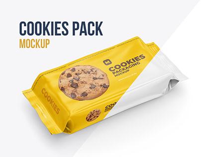 Cookies. Flow Pack Mockup. 4 PSD