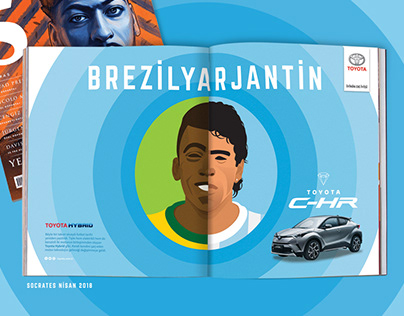Toyota Hybrid Print Ad. / PELE&MARADONA illustration