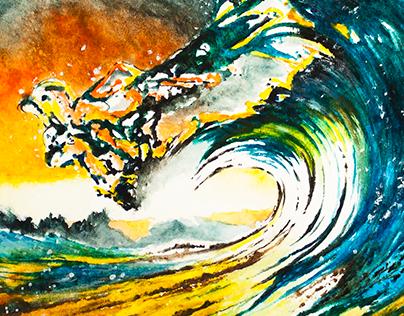 The color of the sea - Watercolor illustration