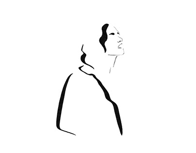 Minimalism line woman profile portrait