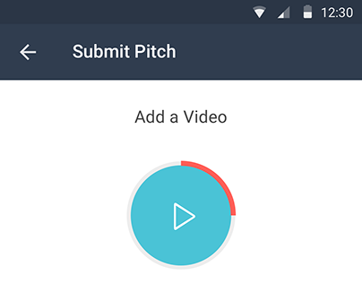 Mobile app UI for Startup video pitches