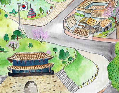 Seoul City Watercolor Illustration