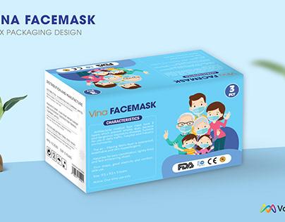 Vina Facemask: Vina Facemask boxpackaging design