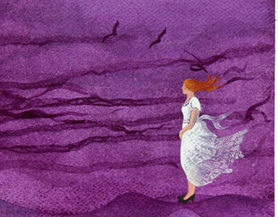 Windy day. Watercolor painting.