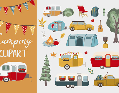 Camping clipart collection