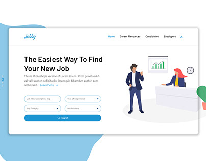 Job-Portal Website Landing page UI UX Design