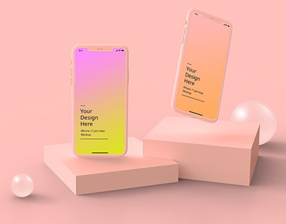 iPhone 11 Pro abstract clay mockup