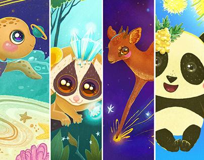 Magic creatures. Cute animals Illustrations