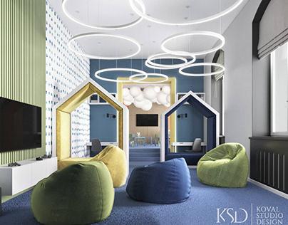 Дизайн интерьера детской комнаты. Игровая для офиса