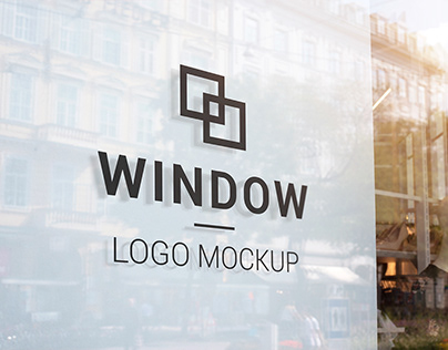 Black logo mockup on store window