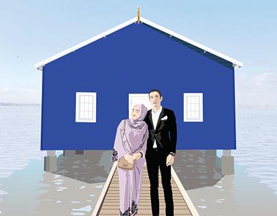 A Couple's Illustration Potrait