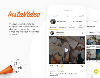 InstaVideo • mobile social app design