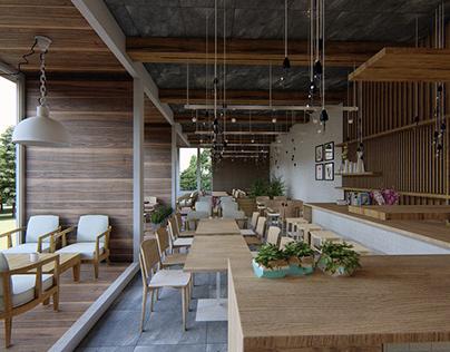 Calm coffee shop (practice rendering)