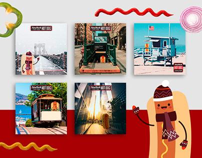 New York Hot Dog - social media - posty rysunkowe
