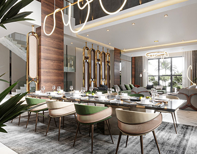 Luxurious Dining And Living Hall