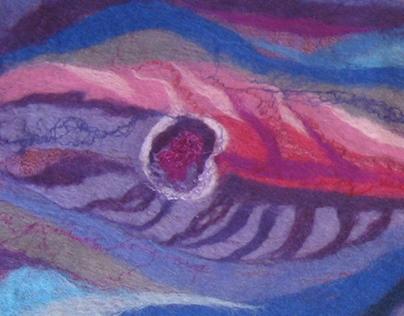 Pink Violet Scarf, Nuno felting,