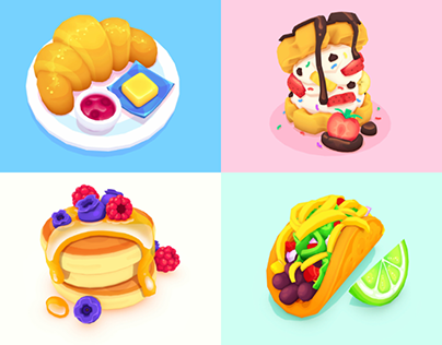 Croissant, Pancakes, Waffle Sandwich & Taco