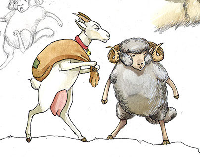 The Lucky Goat and Ram - small Comic Tale