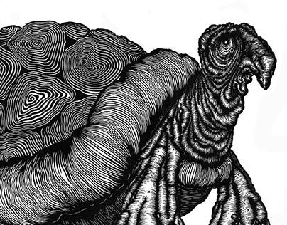turtle - linocut print