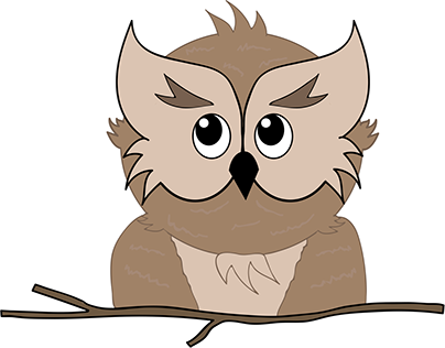 Cartoon Owl with Branch