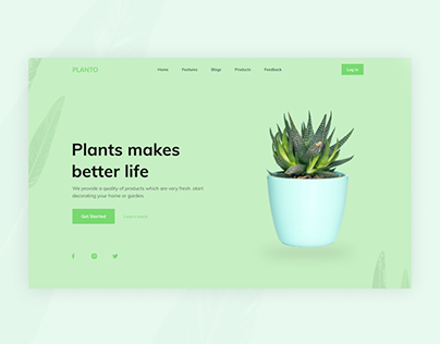Landing page for plants