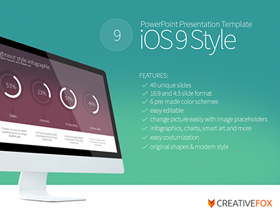 ios 9 style powerpoint template on behance, Powerpoint templates
