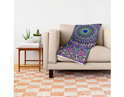 Happy Bohemian Jungle Mandala Throw Blanket