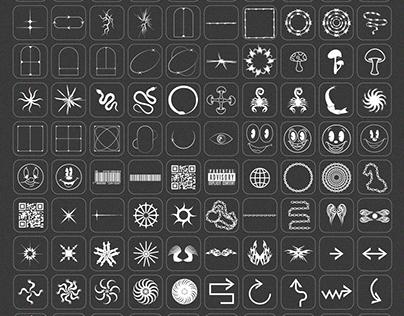 Design Elements Pack: 210 Shapes, 65 Textures