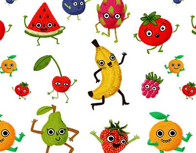 Illustrated Happy Fruit