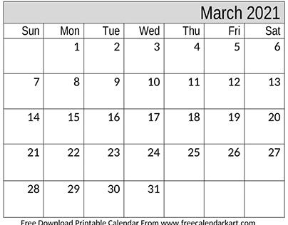 Printable 2021 Calendar March