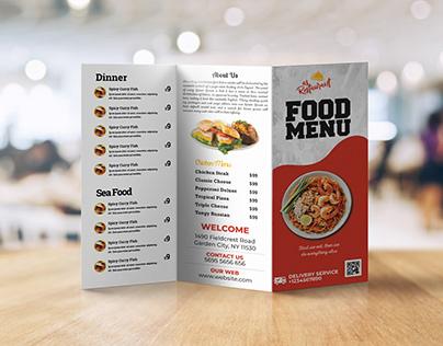 Tri Fold Restaurant Menu Card