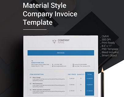 Material Design Style Company PSD Invoice Template