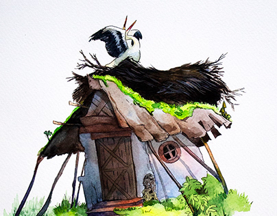 Children's Book Illustration - Watercolor Old House