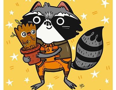Rocket Raccoon & Groot from Guardians of the Galaxy