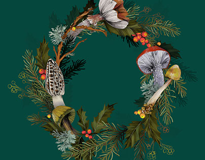 Mushroom Forest Wreath + Pattern