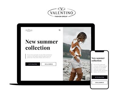 VALENTINO - clean landing page design