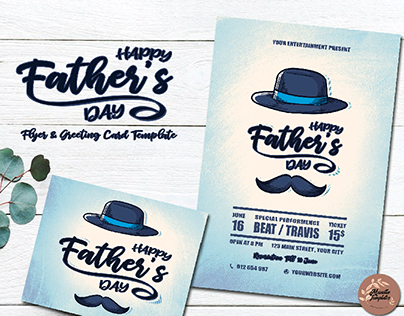 Father's day printable flyer and greeting card template