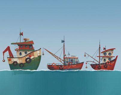 Cartoon ships