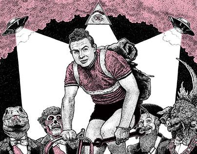 Portrait of the french cyclist Michel Rousseau...