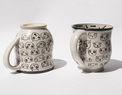 Cat face Mugs and Bowl