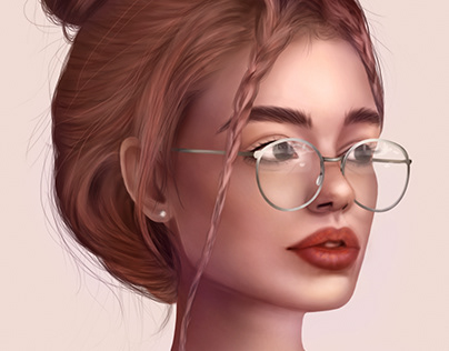 cute girl with glasses and with collected hair