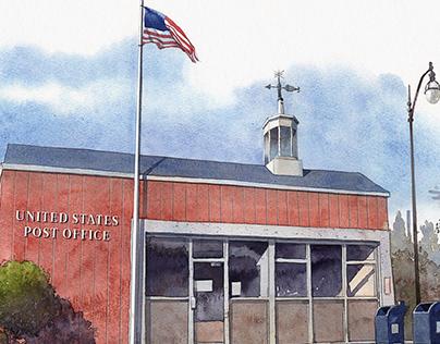 Post office watercolors