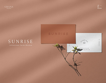 SUNRISE Letterpress Business Card Mockup