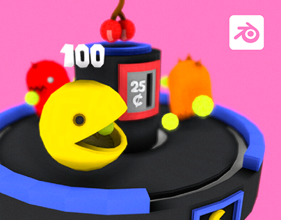 Pacman Lowpoly - Games Diorama