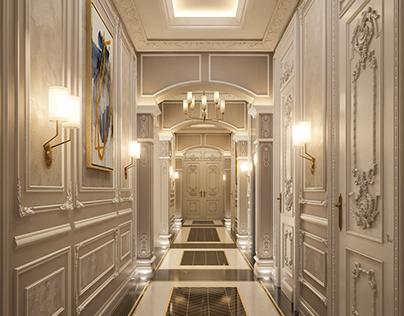 Luxury Villa Corridor 3d Rendering