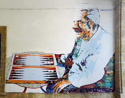 Mural painting - tavli player