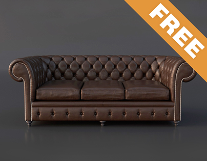 FREE Chesterfield Couch 3D Model