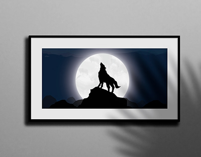 Wolf and the Moon Illustration